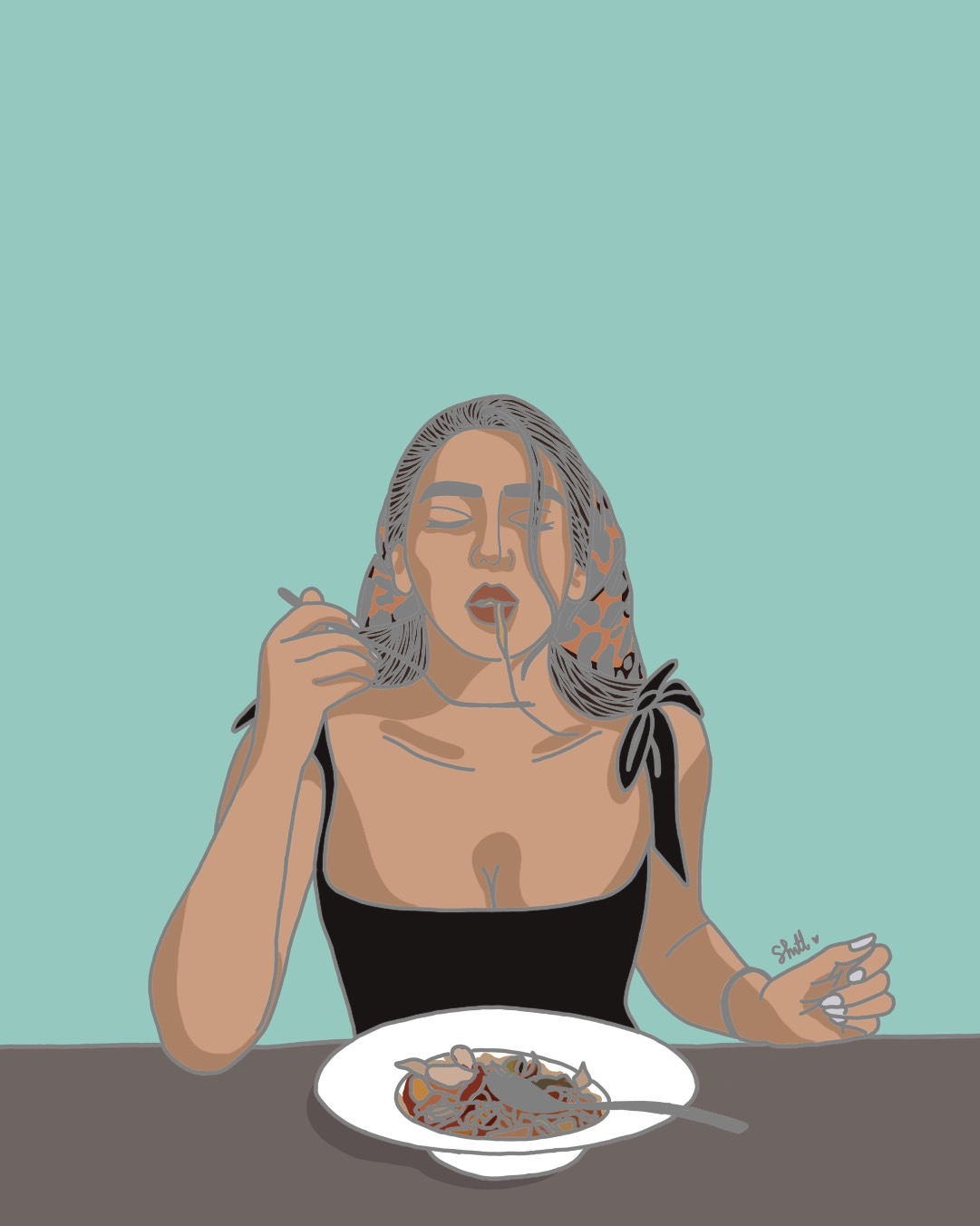 Woman Eating Pasta Coloring Page